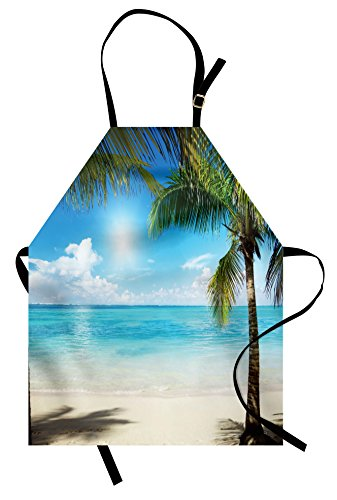 Ambesonne Tropical Beach Apron, Coconut Palm Trees Shadows On Caribbean Shore Summer Plants Idyllic, Unisex Kitchen Bib Apron with Adjustable Neck for Cooking Baking Gardening, Aqua Coconut Green ()