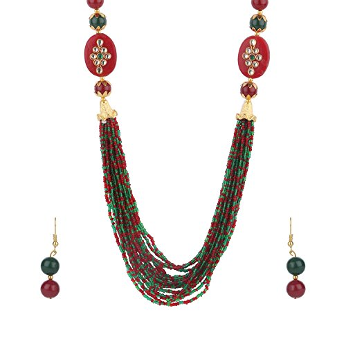 Efulgenz Indian Handcrafted Traditional Designer Simulated Pearl Beaded Multi Stranded Necklace with Dangler Earrings Bollywood Jewelry Sets for Women and Girls (Multicolor)