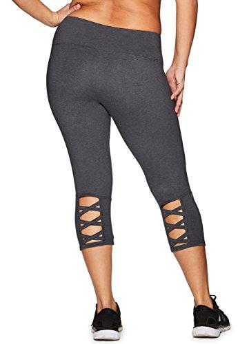 RBX Active Women's Plus Size Cotton Spandex Capri Leggings Dark Grey Heather Basic 3X