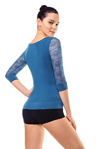 Md Womens Compression Slimming Shirts And Undershirts For Tummy Waist And Bust Lace Sleeves Medium Peacock Blue