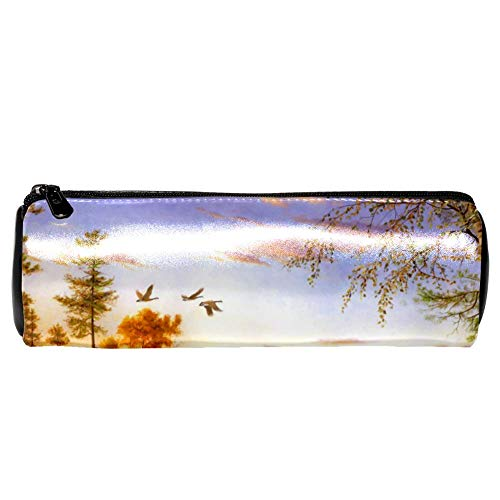- Anmarco Peaceful Log Cabin Deer Flying Bird Leather Pen Pencil Case Coin Purse Pouch Cosmetic Makeup Bag for School Work Office