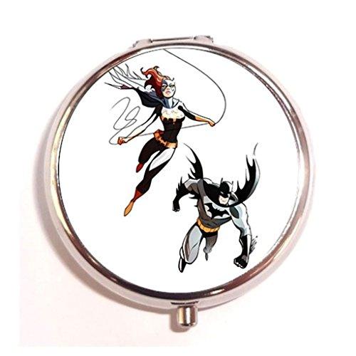 Batgirl and Batman DIY Outdoor fashion silver Round Pill Storage Case Box Organizer -Silvia Ankova Custom