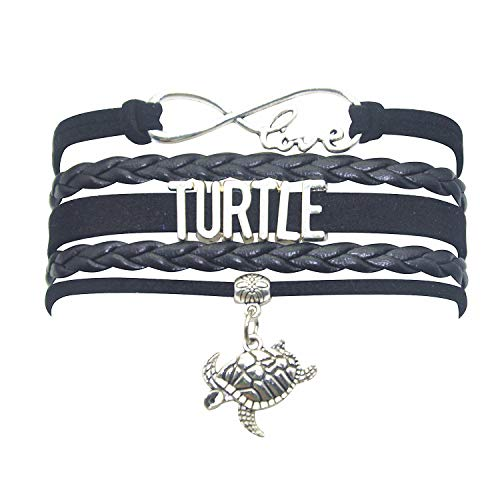 - HHHbeauty Tortoise Sea Turtle Bracelet Infinity Love Tortoise Turtle Gifts Sea Turtle Jewelry Bracelet Gifts for Women, Girls, Men, Boys, Turtle Lovers Popular Turtle Themed Gifts (All in Black)