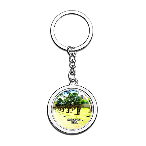 USA United States Keychain Oklahoma City National Memorial & Museum Key Chain 3D Crystal Spinning Round Stainless Steel Keychains Travel City Souvenirs Key Chain Ring
