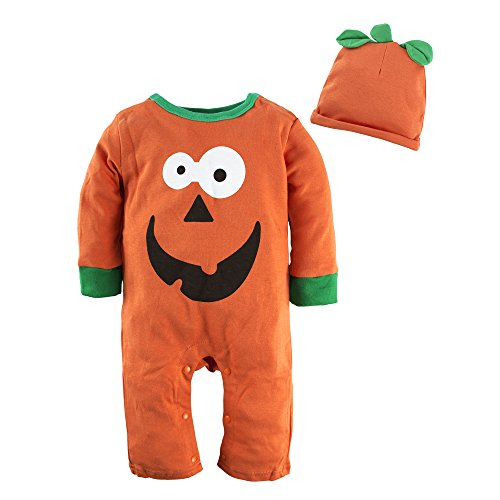 (Big Elephant Baby Boys1 Piece Cute Halloween Pumpkin Romper Jumpsuit with Hat, 6-12 Months, Orange)