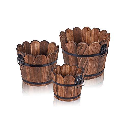 Wooden Bucket Barrel Planters, Rustic Patio Planters Flower Pots for Plants Garden Outdoor Indoor Décor, Set of 3