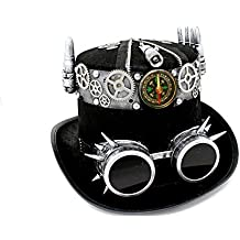 """Paradise Treasures Gothic Steampunk Top Hat with Steampunk Goggles with Spikes and Steampunk Gears Velvet 6.2"""" Costume Hat for Adults and Teens,Marti-gras, Halloween and Costume Parties"""