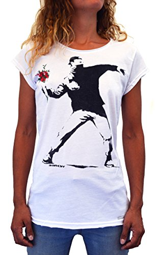 (Faces | Banksy Flower Thrower | Women's Organic T-Shirt Hand Printed in Italy (M Woman))