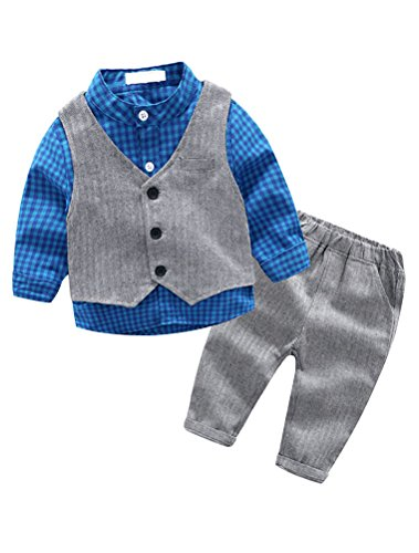 (Abolai Baby Boys' 3 Piece Vest Set with Shirt,Vest and Pant Style2 Blue 90)