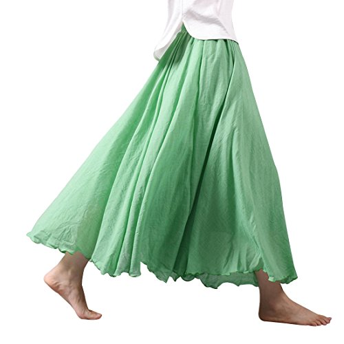 Kafeimali Women Bohemian Cotton Linen Double Layer Elastic Waist Long Maxi Skirt (Green, 95CM-Length)