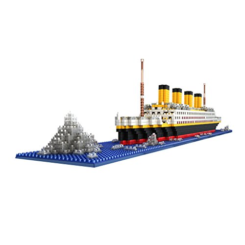 Flameer 1860PCS Plastic Grand Titanic Ship Model 3D Jigsaw Building Blocks Educational Toy Party Favors Birthday Gift Home Decor (Titanic Favors)