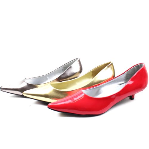 Pointy Fashion Toe Shoes Leather Kitten Heel Patent High Women's Comfortable Red Qupid Pumps xw4qvTY