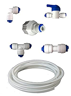 "The Water Filter Men Fridge Filter Plumbing Kit / Hose Connection Kit For American Style Fridge Freezers Fits Lg Samsung Bosch Daewoo Ge + All With 1/4"" Lldpe Water Pipe"