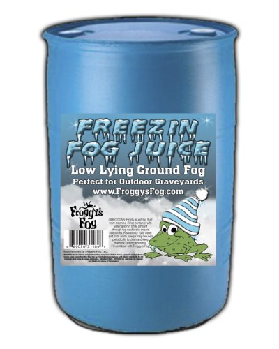 Freezin Fog Outdoor Low Lying Ground Fog Juice Machine Fluid - 55 Gallon Drum - The Haunted House Owner's Choice for Outdoor Graveyard Fog ()