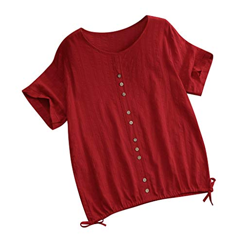 RoDeke Women Round Neck Short Sleeve Button Vintage Solid Tops Loose T-Shirt Red