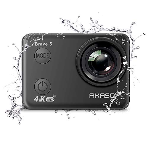 AKASO Brave 5 4K Touchscreen Waterproof WIFI Action Camera 4K Ultra HD 20MP 10M Underwater Waterproof Camera Without Case 170 Degree Wide Angle Sports Cam with 2 Batteries and Helmet Accessories Kit AKASO