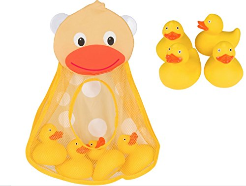 Perfect Gift Momma Duck Gift Set Includes 4 Adorable Safe Rubber Duck Set PLUS Bath Toy Organizer Top Baby Gift for Baby Boys & Girls to keep Bath Toys Dry & Mold Free