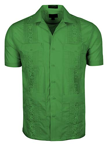 TrueM Men's Short Sleeve Cuban Guayabera Shirts (S, Green)