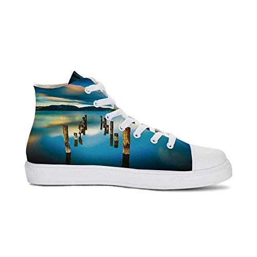 Scenery House Decor Durable High Top Canvas Shoes,Surreal Landscape with Wood Deck and Clouds in Sky Coastal Charm for Men,US 8