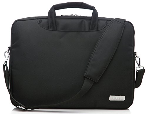 NNEE 15 15.6 Inch Water Resistance Suit Fabric Laptop Multi-functional Briefcase Messenger Bag Computer Travel Carrying Case with Handles & Adjustable Shoulder Strap - Black