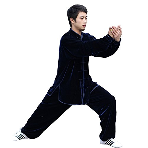 G-LIKE Tai Chi Uniform Clothing - Qi Gong Martial Arts Wing Chun Shaolin Kung Fu Apparel Clothing for Beginners Men Women - Cotton with Velvet Fabrics (Navy blue, M)
