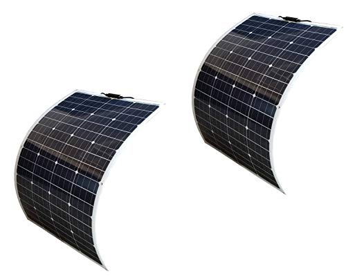 Panel Charger Sol Solar (WindyNation 2pcs 100W 100 Watt 12V Bendable Flexible Thin Lightweight Monocrystalline Solar Panel Battery Charger for RV, Boat, Cabin, Off-Grid)