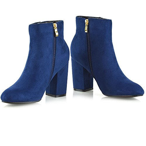 GLAM Block Shoes Boots Womens Smart Booties Ankle Ladies Navy Mid High ESSEX Faux Heel Party Suede Casual AwdSxqx