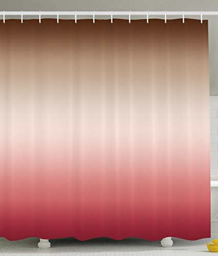 Ombre Shower Curtain Art Bathroom Decor by Ambesonne, Home Decorations 70 Inches Long, Polyester Fabric Shower Curtain Set with Hooks, Colorful Design Brown Pink Red