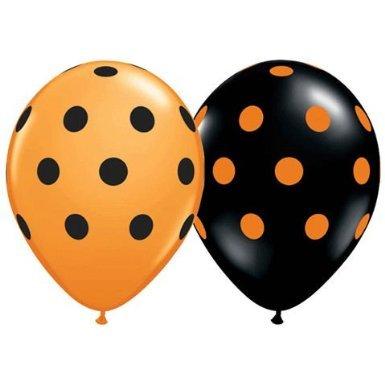 Polka Dot Balloons 11 Inch Premium Black and Orange with All-Over Print Orange and Black Dots (Orange Polka Dot Balloons)