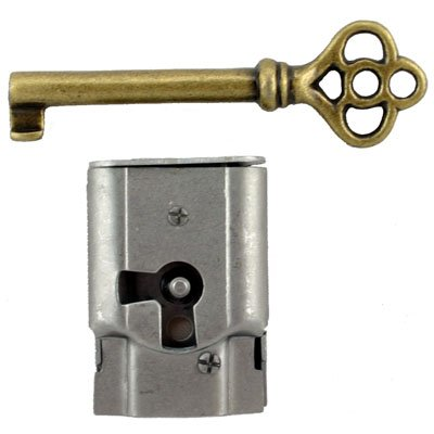 S-15 Full Mortise Antique Cabinet and Door Lock with Skeleton Key + Free Bonus (Skeleton Key Badge) (Full Mortise Lock)