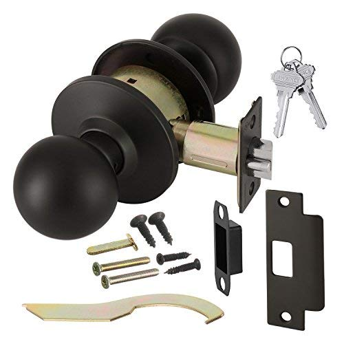 (Commercial Grade 2 Keyed Closet Storeroom Door Knob Handle with Cylindrical Lockset, Oil Rubbed Bronze, Non-Handed, by Lawrence Hardware LH5307 )
