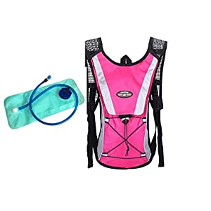 IFLYING Hydration Pack Water Rucksack Backpack Bladder Bag Hiking Climbing Pouch With 2L Hydration Bladder (Pink)