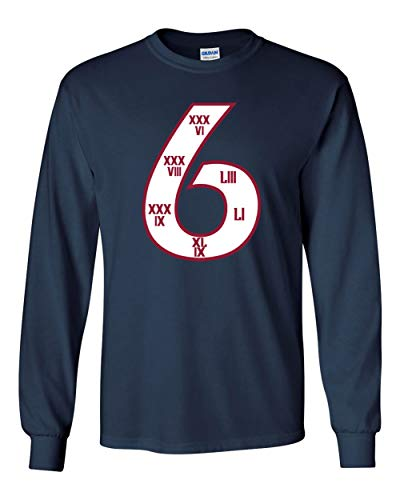 Long Sleeve Blue New England Brady Belichick 6 Time Champs t-Shirt Adult ()
