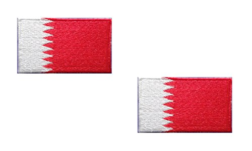 2 pieces BAHRAIN Flag Iron On Patch Applique Motif Country National Decal 2.5 x 1.4 inches (6.3 x 3.5 cm)