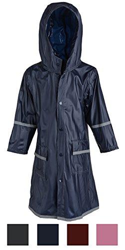 (Big Girls Kids Waterproof Full Length Long Hooded Raincoat Jacket for Children - Blue (X-Large))