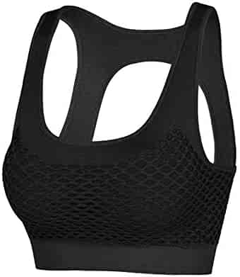 f3e14c5ae31b Yandam Beautiful Back Sports Bra Without Traces Gathered Underwear Women's  Camisole(Black S)