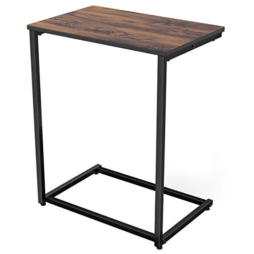 Homemaxs Sofa Side End Table C Table Wood Finish Steel Construction 26-Inch for Small Space
