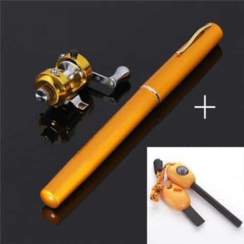 BestBuyGoods Portable Mini Pocket Pen Fishing Rod Pole Reel With Two Baits Two fishhooks Two Fishing-buoys and 20 Meters Fish tape/wire+ Survival Magnesium Firestarter Compass Whistle Orange BBG14PF001(Colors Random)