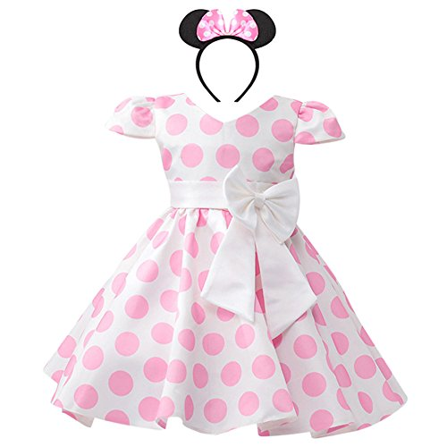 IWEMEK Girls Polka Dots Cap Sleeves Wedding Pageant Princess Skirt Bowknot Tutu Dress Mouse Ears Headband Pink 5-6 by IWEMEK