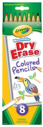 Crayola 8 Count Washable Dry-Erase Colored Pencils Point Pencil Case