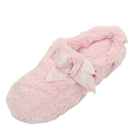 Home Slipper Womens Winter Warm Cute Bowknot Long Fleece Indoor House Scuff Slippers Light Pink eEoPR