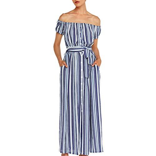 Women Dress Fashion Bohemia Travel Tropical Geometric Stripe Shoulder-Length Dress Blue ()