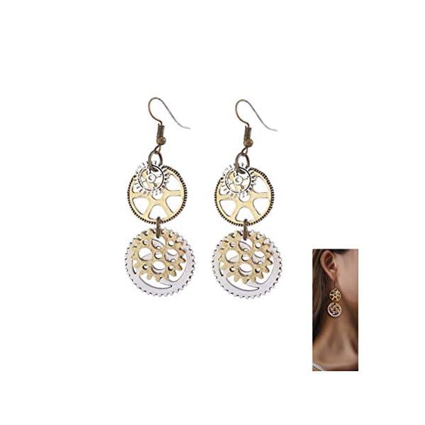Steampunk Gears Clock Circle Earrings Vintage Personalized Gold Silver jewelry machine parts Women Ear Hook 3