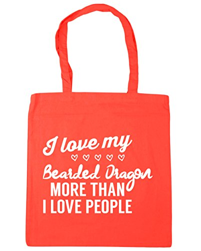HippoWarehouse I Love My Bearded Dragon – más de I Love People Tote Compras Bolsa de playa 42 cm x38 cm, 10 litros Coral
