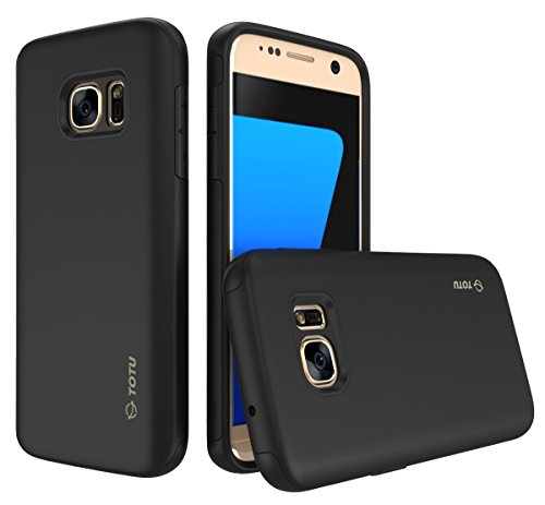 TOTU Impact Resist Rugged Slim Dual Layer Protective Case for Samsung Galaxy S7 - Black