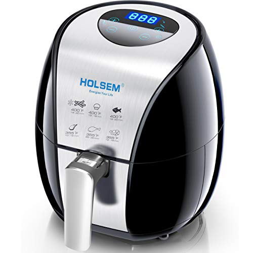 HOLSEM Digital Air Fryer with Rapid Air Circulation System, 3.4 QT Capacity with LED Display – Black/Stainless Steel