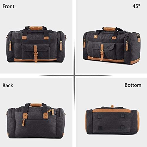 Plambag Canvas Duffle Bag, 50L Large Travel Duffel for Overnight Weekend Luggage Dark Gray