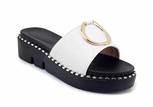 casual plateau da in fibbia metallo taglia esterno con donna SHINIK Toe Open 2018 per Bianca 43 Sandali EU tondo 34 estivi Pantofole t7xZ5w