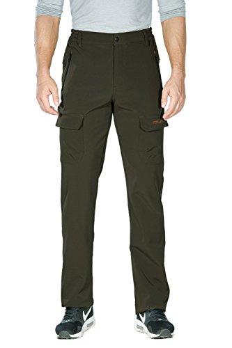 Nonwe Men's Warm Windproof Mountain Fleece Hiking Sweat Pants Green1 M/34 Inseam