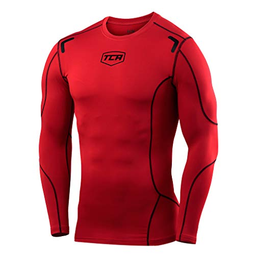 (TCA Men's Boys Elite+ Compression Shirt Thermal Top - Team Red 10-12 years)